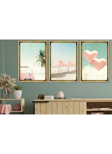 Çerçeve Home  Pink Life Gold Çerçeve Tablo Seti Altın
